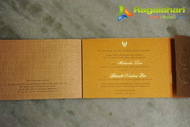 Wedding Gift For Sister Flipkart : Rana Daggubatis sister Malavikas wedding invitation card